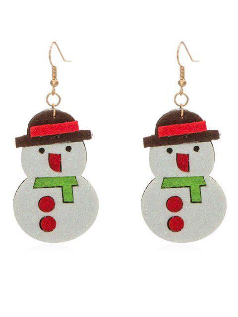 Boucles d'oreilles mignonnes de bonhomme de neige - Blanc  Mobile