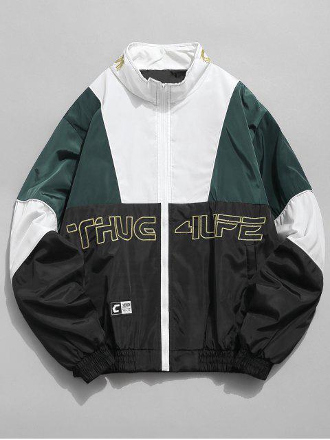 best Embroidered Letter Loose Contrast Jacket - BLACK XL Mobile