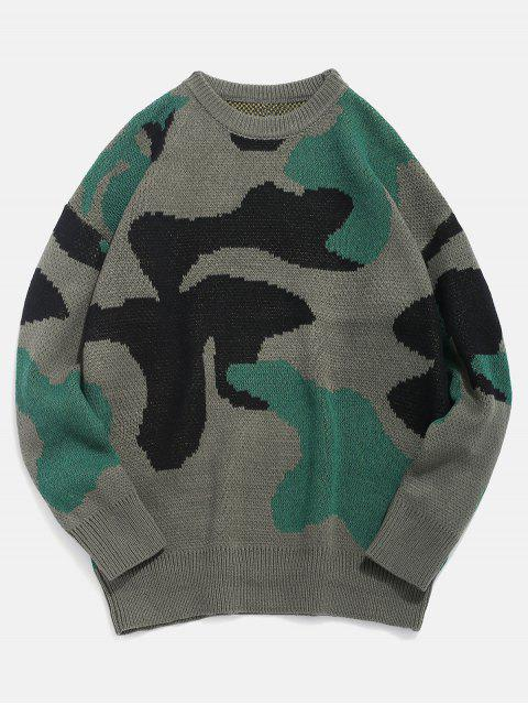 hot Letter Pattern Camo Knitted Sweater - DEEP GREEN L Mobile