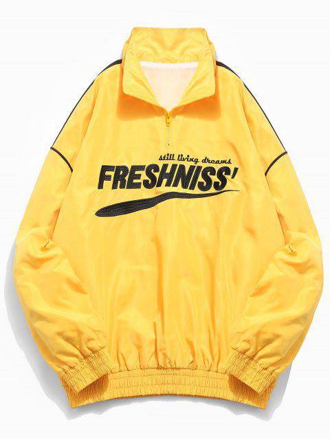 lady Casual Letter Pullover Windbreaker Jacket - YELLOW 2XL Mobile