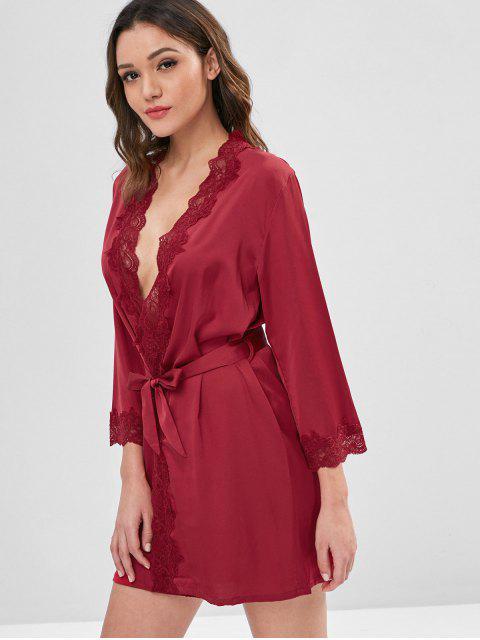 buy Belted Shimmer Satin Robe - RED WINE XL Mobile