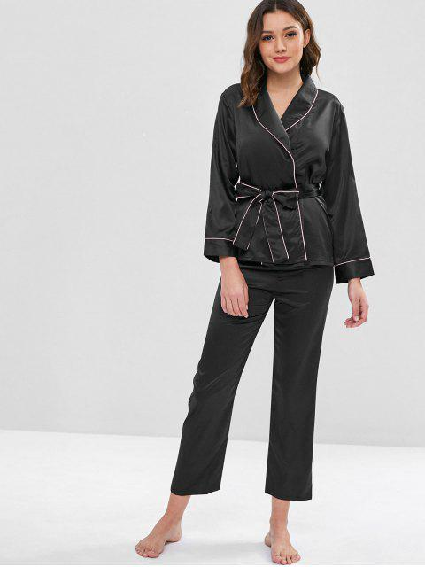 lady Belted Binding Satin Long Sleeve Pajama Set - BLACK L Mobile