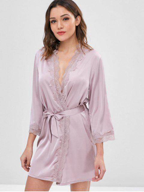 online Belted Shimmer Satin Robe - WISTERIA PURPLE 2XL Mobile
