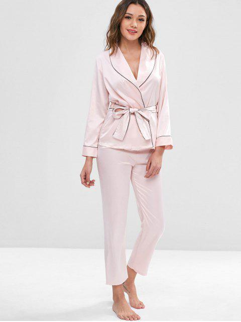 chic Belted Binding Satin Long Sleeve Pajama Set - LIGHT PINK L Mobile