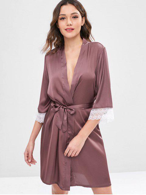 buy Belted Satin Robe - VELVET MAROON L Mobile