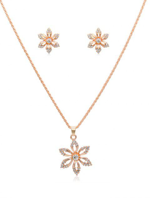 shop Rhinestone Hollow Flower Design Necklace Earrings - ROSE GOLD  Mobile
