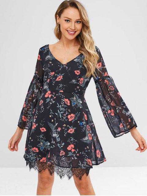 fashion Plant Print Lace Hem Long Sleeve Dress - BLACK L Mobile