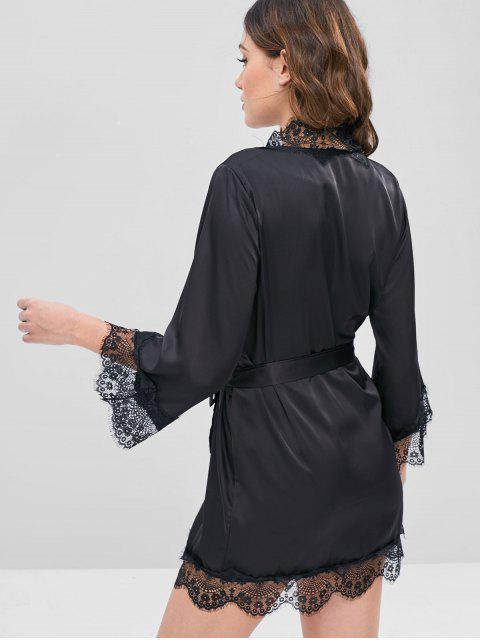 fancy Belted Tonal Lace Satin Sleep Robe - BLACK 2XL Mobile