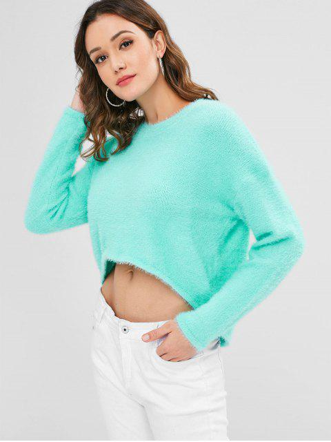 women Fuzzy High Low Sweater - LIGHT AQUAMARINE ONE SIZE Mobile