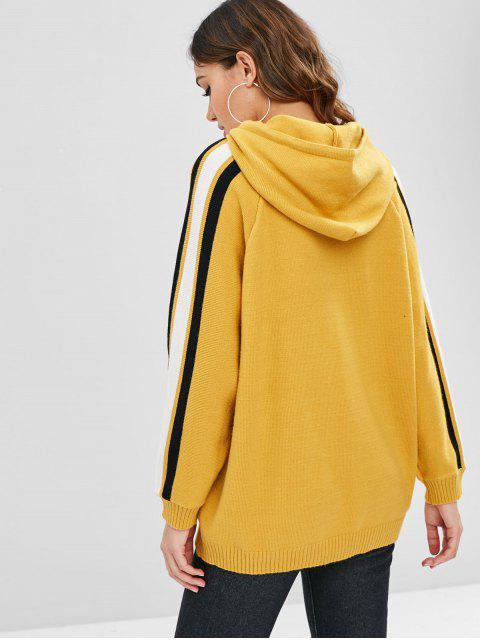 lady Side Stripe Love Graphic Hooded Sweater - BRIGHT YELLOW ONE SIZE Mobile