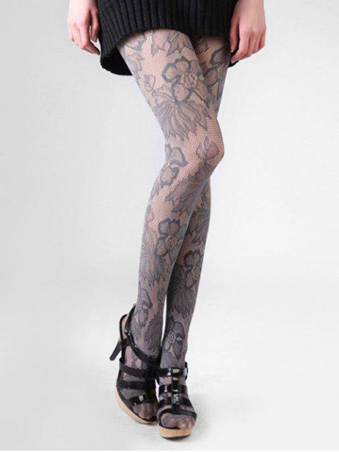 unique Lace Floral Long Thigh High Silk Stocking - DARK GRAY  Mobile