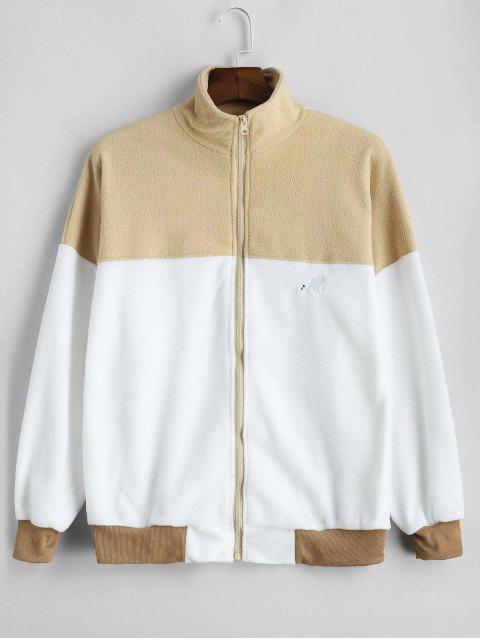 Übergroßes Fleece-Sweatshirt mit Farbblock - Braunes Kamel  Eine Größe Mobile