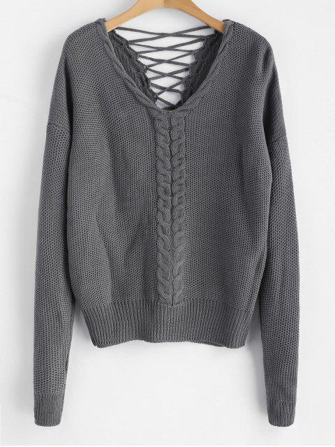 Zopfmuster Criss Cross Chunky Sweater - Kohle Grau Eine Größe Mobile
