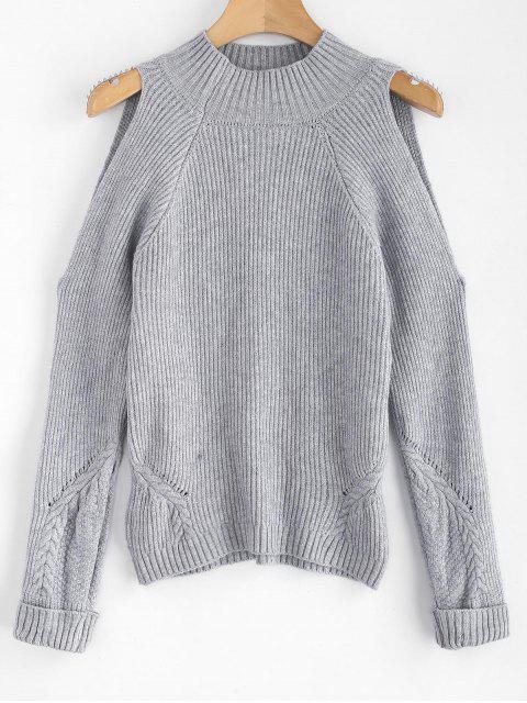 Mock Neck Cold Shoulder Pullover - Grau Eine Größe Mobile