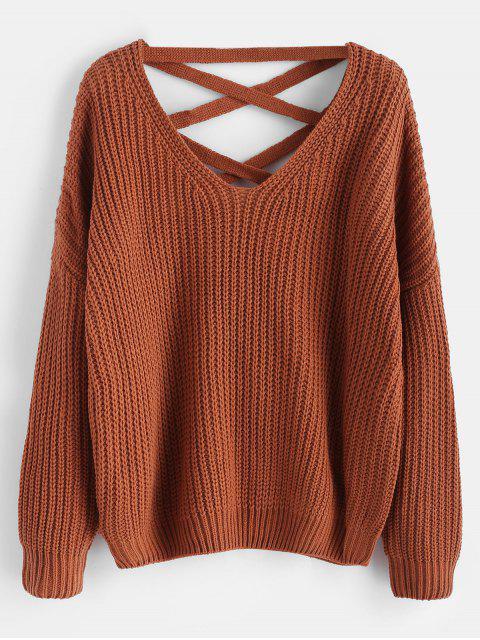Lace Up Drop Schulter Chunky Sweater - Hellbraun Eine Größe Mobile
