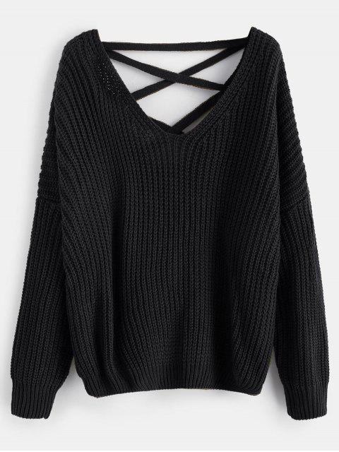 Lace Up Drop Schulter Chunky Sweater - Schwarz Eine Größe Mobile