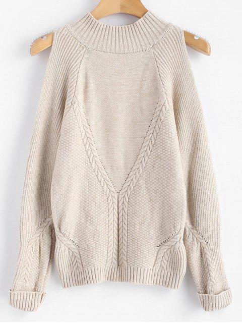 Mock Neck Cold Shoulder Pullover - Warmweiß Eine Größe Mobile