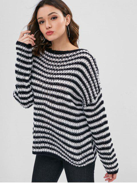 buy Pullover Loose Knit Stripes Sweater - BLACK ONE SIZE Mobile