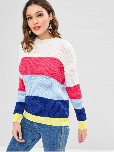 outfit Crew Neck Color Block Knit Sweater - MULTI ONE SIZE Mobile