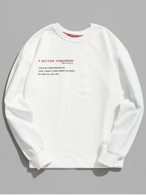 best Letter Human Print Graphic Sweatshirt - WHITE L Mobile