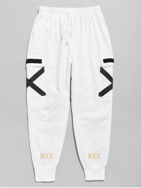 chic Cross Stripe Pocket Jogger Pants - WHITE L Mobile