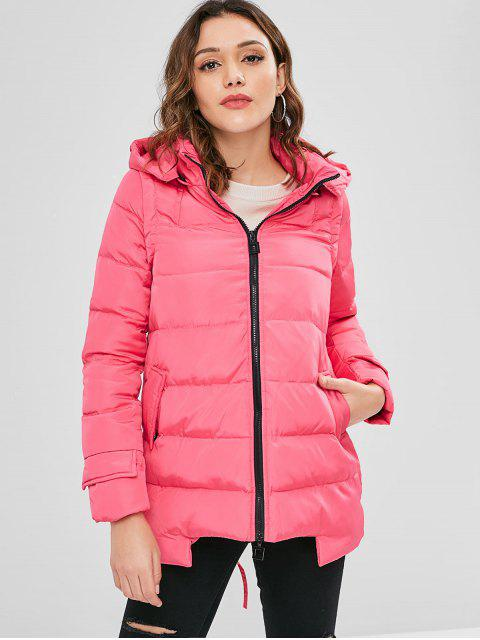 ladies Hooded Quilted Jacket - ROSE RED XL Mobile