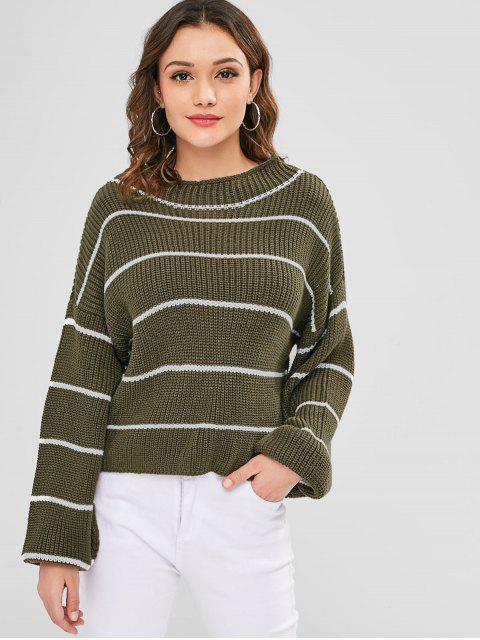 buy ZAFUL Lantern Sleeve Contrasting Striped Sweater - ARMY GREEN ONE SIZE Mobile
