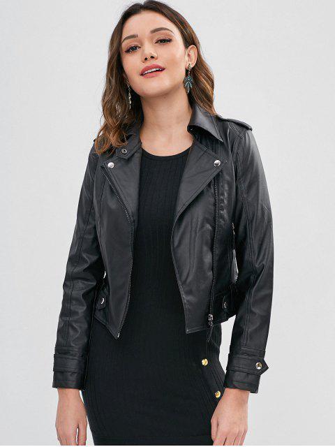 fancy Faux Leather Biker Zip Up Jacket - BLACK XL Mobile