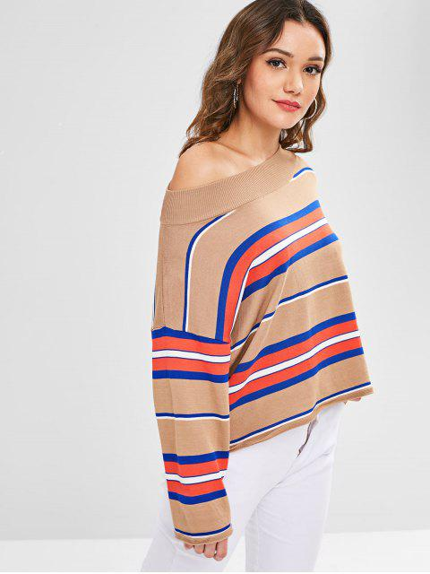hot One Shoulder Stripes Sweater - MULTI ONE SIZE Mobile