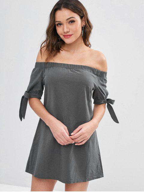 Mini vestido de hombro anudado ZAFUL - Gris M Mobile