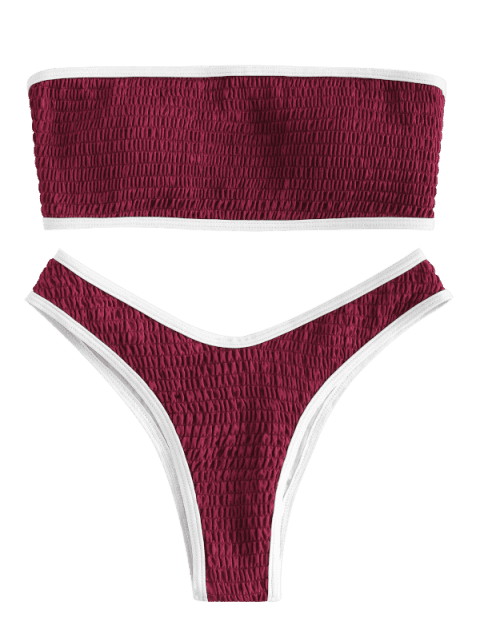 outfit ZAFUL Contrast Piping Smocked Bandeau Bikini Set - RED WINE L Mobile