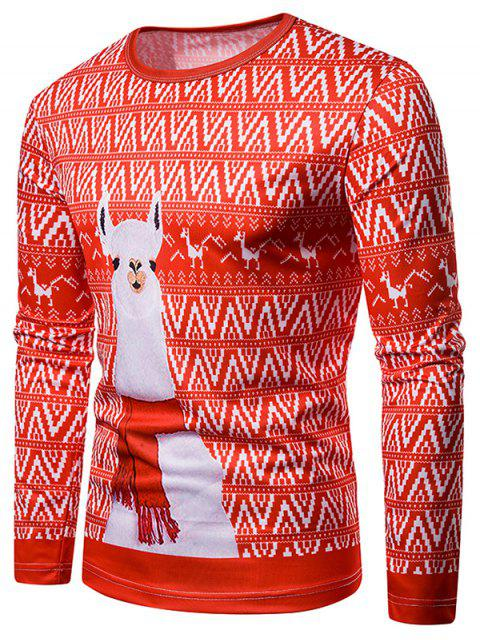Christmas Alpaca Printed Crew Neck T-shirt - 多 L Mobile
