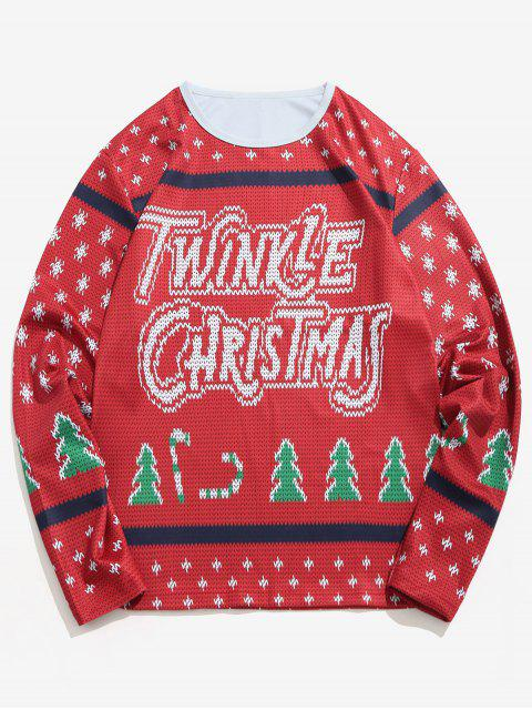 Letter Christmas Tree Knitted Print T-shirt - 紅酒 XL Mobile
