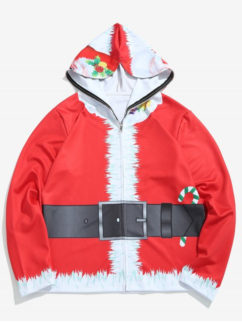 latest Santa Mask Full Face Zip Hoodie - LAVA RED 2XL Mobile
