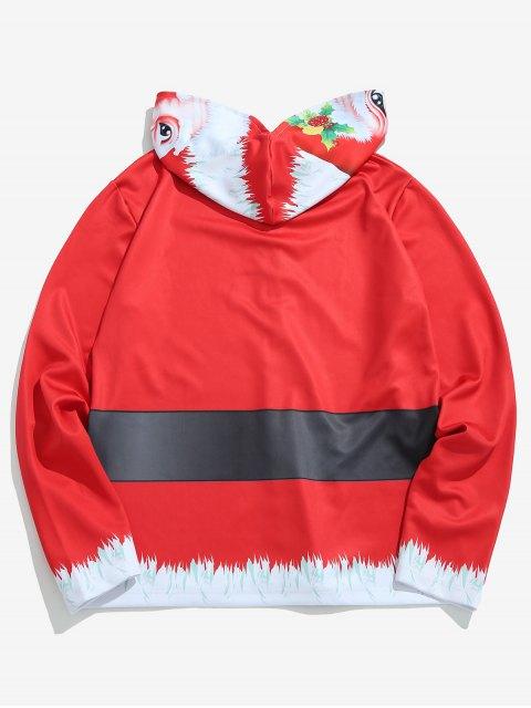 fancy Santa Mask Full Face Zip Hoodie - LAVA RED S Mobile