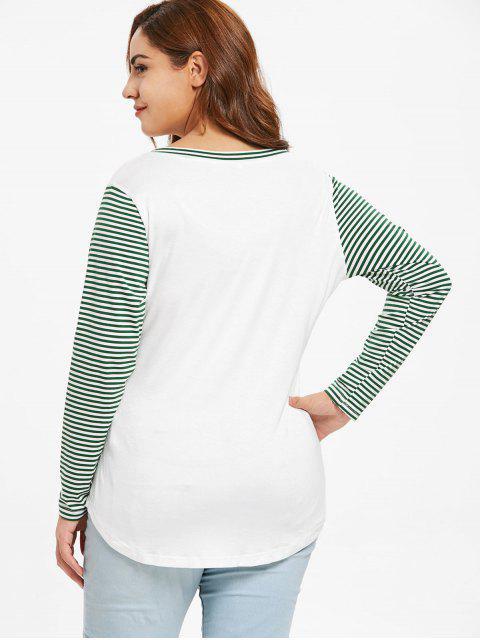 women Plus Size Merry Christmas Stripes High Low Tee - WHITE 2X Mobile