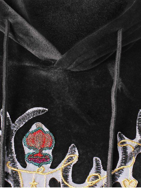 Christmas Elk Applique Kangaroo Pocket terciopelo con capucha - Negro M Mobile