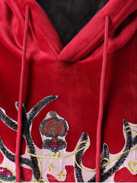Christmas Elk Applique Kangaroo Pocket Velvet Hoodie - 紅酒 2XL Mobile