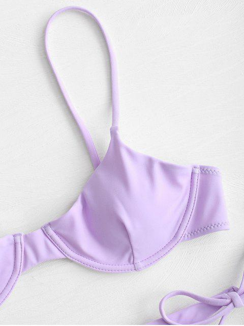 women ZAFUL Tie Underwire Balconette Bikini Set - MAUVE S Mobile