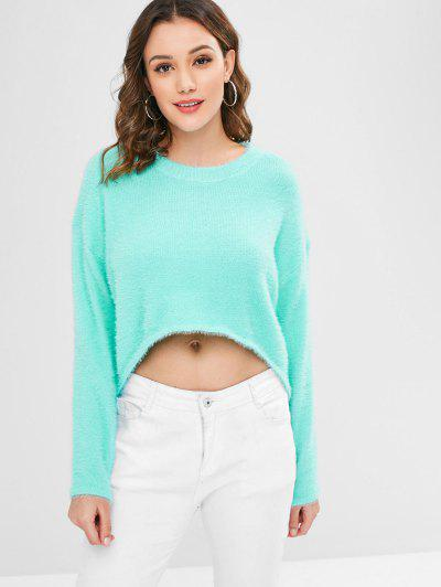 Fuzzy High Low Sweater - Light Aquamarine