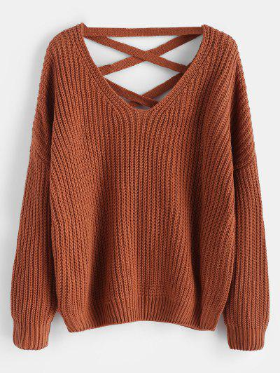b1926a2a8de6 Lace Up Drop Shoulder Chunky Sweater - Light Brown