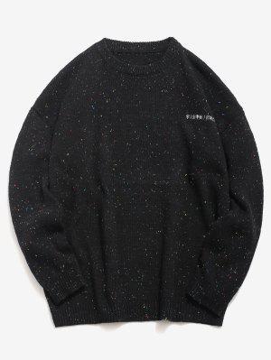Gestickte japanische Schriftzeichen gestrickte Pullover
