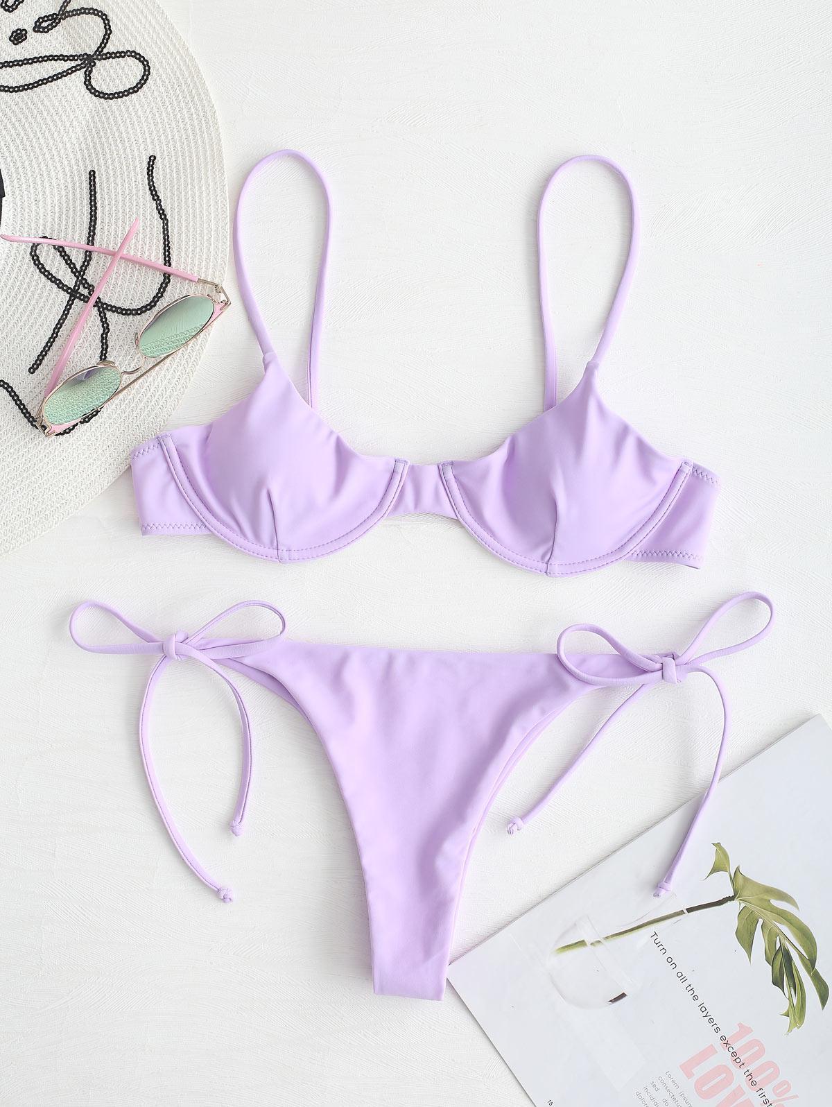 ZAFUL Tie Underwire Balconette Bikini Set
