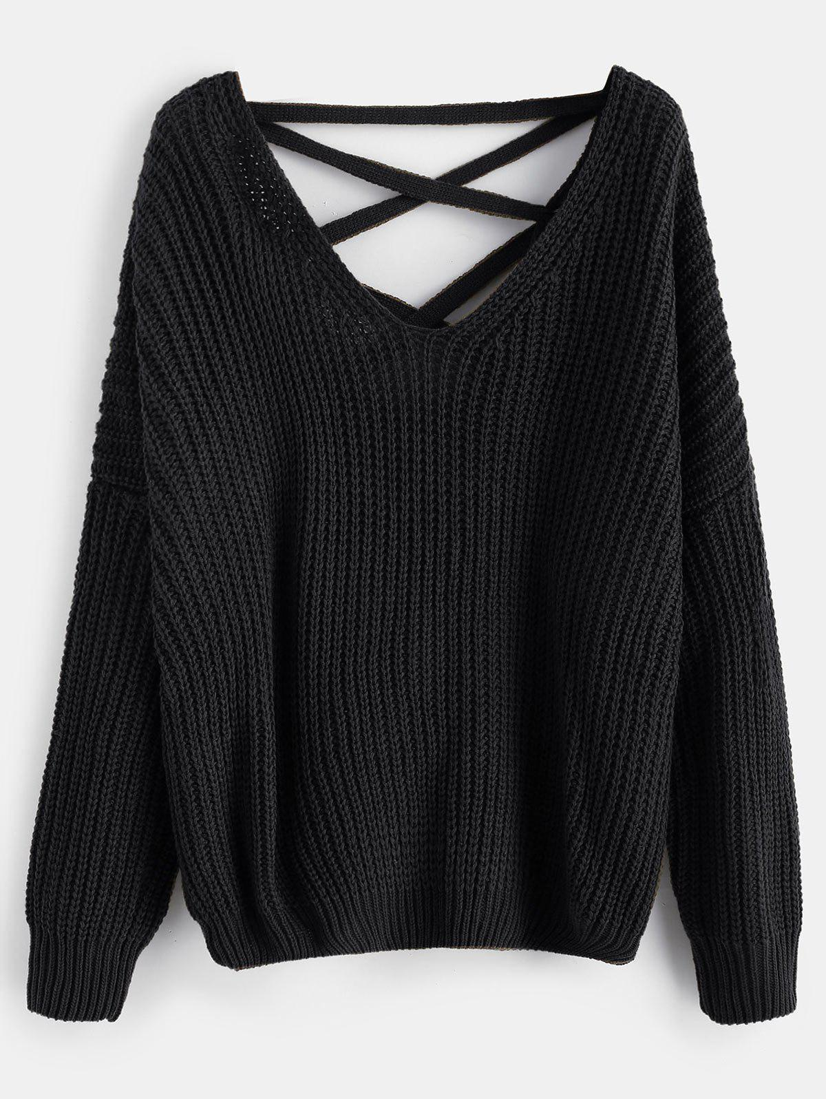 Lace Up Drop Shoulder Chunky Sweater