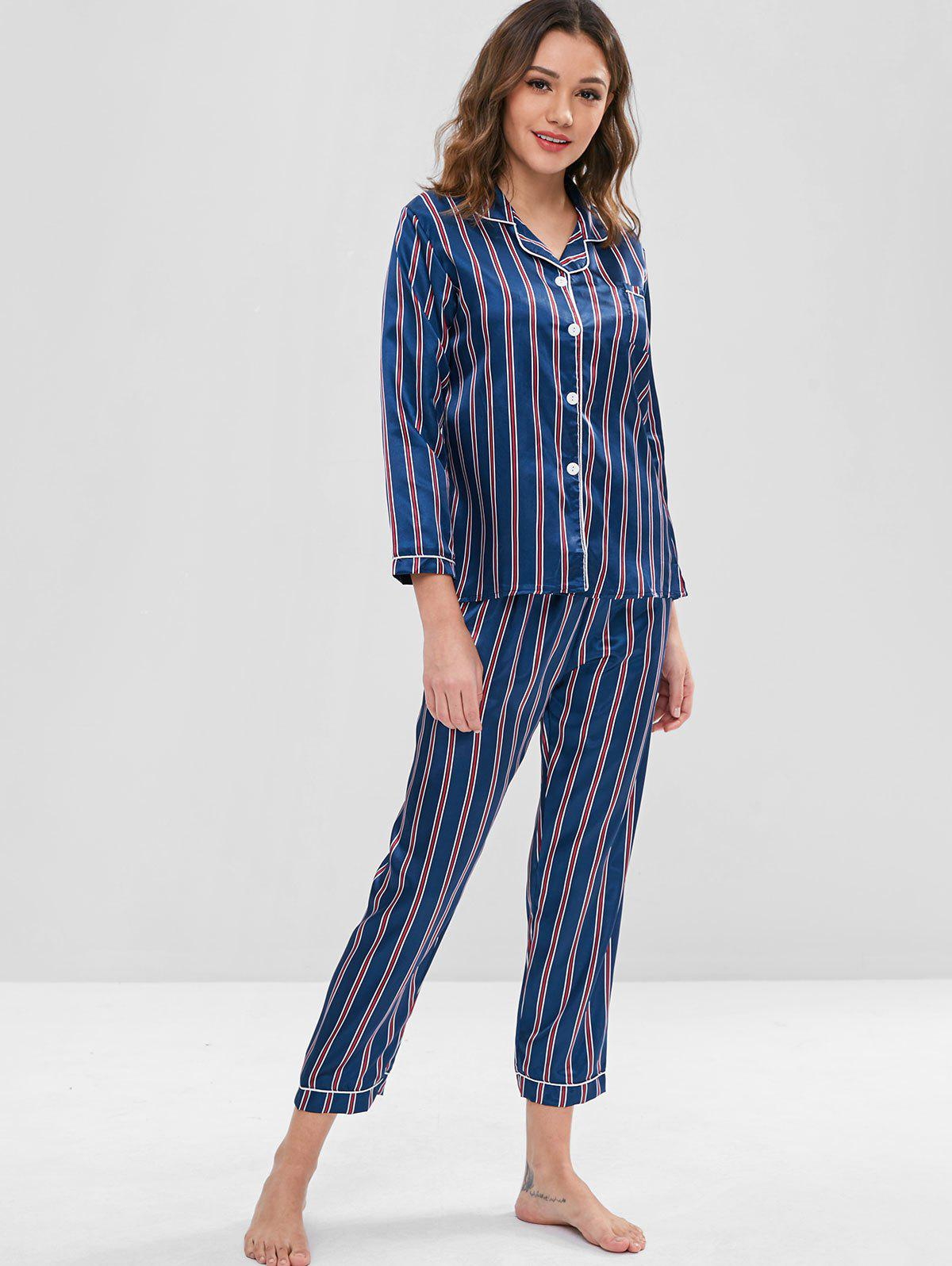 Striped Satin Shirt and Pants Pajama Set