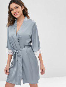 28% OFF  2019 Belted Satin Robe In BLUE GRAY XL  d257bc225