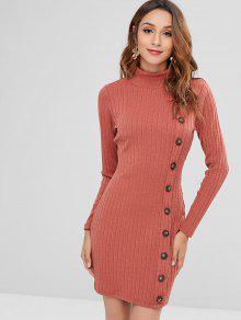 ZAFUL الرقبة العالية زرر قصير اللباس متماسكة - كستنائي أحمر L