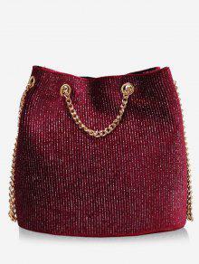 حقيبة Glitter سلسلة Crossbody - أحمر