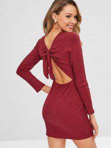 مضلع كم طويل عقدة اللباس المناسب - نبيذ احمر S