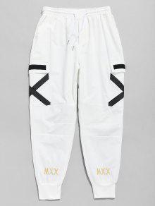 عبر السراويل جيب عداء ببطء جيب - أبيض M